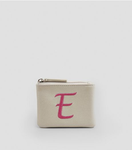 Stone Metallic Initial E Embroidered Purse | New Look