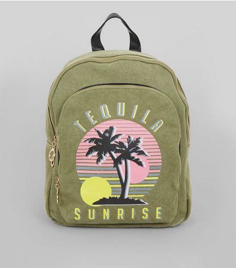 Khaki Tequila Sunrise Printed Canvas Backpack | New Look
