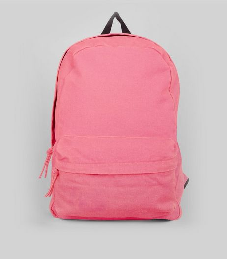 Pink Canvas Backpack | New Look