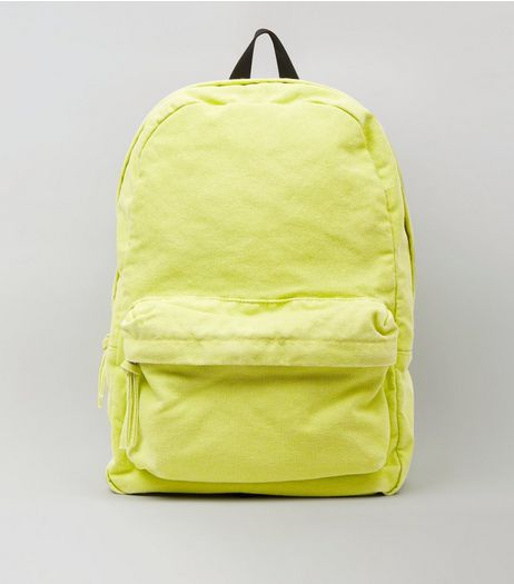 Lime Canvas Backpack | New Look