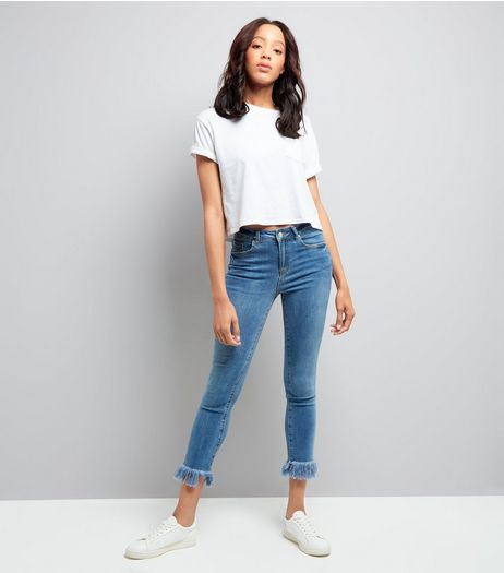 Blue Fray Hem Cropped Skinny Jeans  | New Look