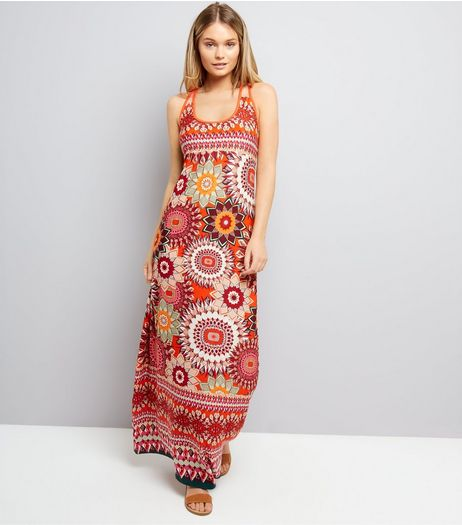Blue Vanilla Orange Abstract Print Maxi Dress | New Look