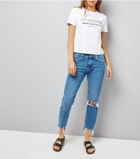 Blue Ripped Knee Fray Hem Leyla Jeans  | New Look