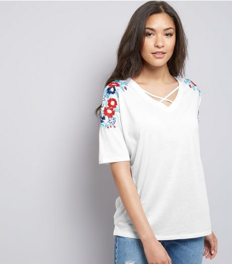 Tall White Floral Embroidered Cross Front T-Shirt | New Look