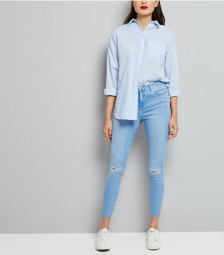 Light Blue Ripped Shaper Skinny Jeans | New Look