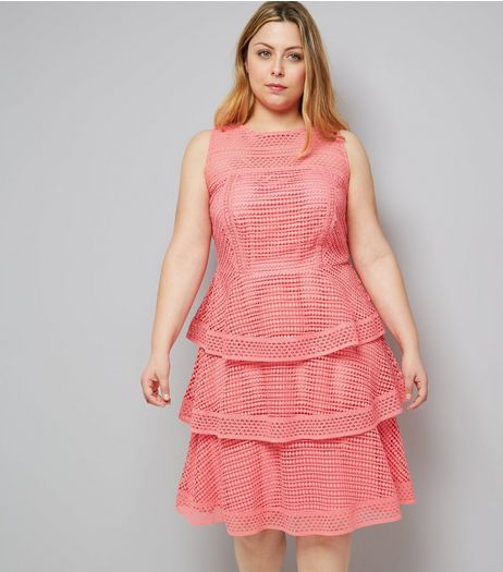 Curves Pink Premium Tiered Lace Dress | New Look
