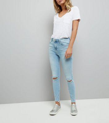 Blue Ripped Knee Shaper Skinny Jeans