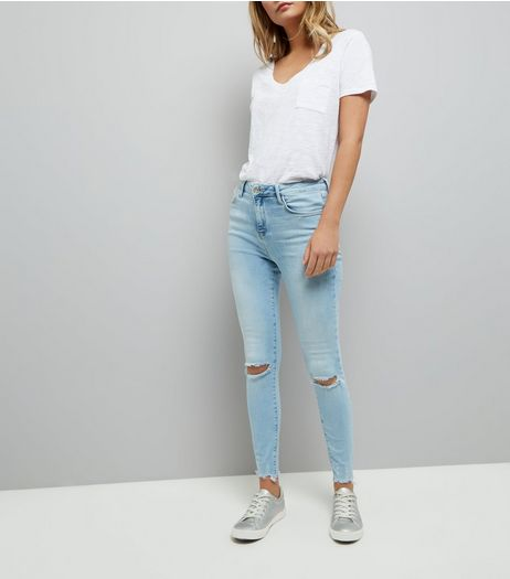 Blue Ripped Knee Shaper Skinny Jeans  | New Look