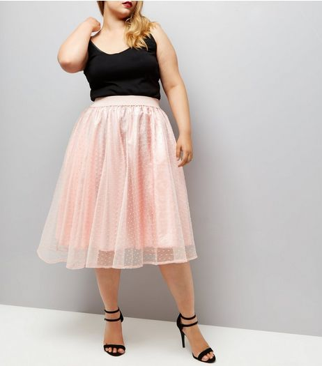 Curves Pink Spot Mesh Skater Skirt | New Look