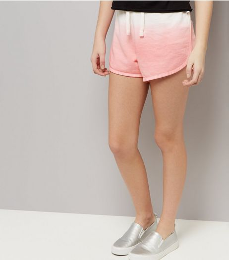 Teens Pink Dip Dye Jersey Shorts | New Look