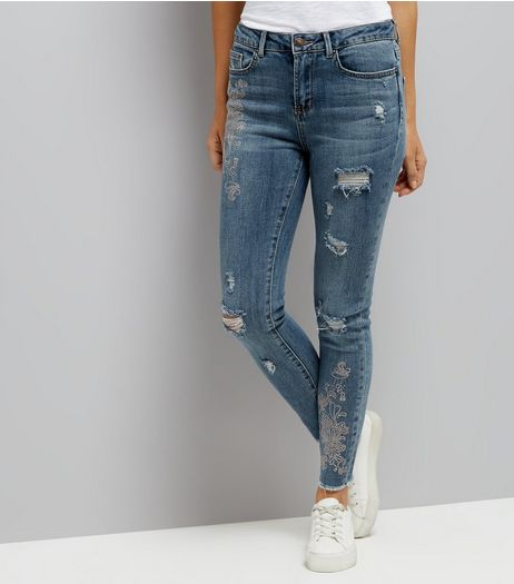 Blue Gemstone Side Skinny Jenna Jeans | New Look