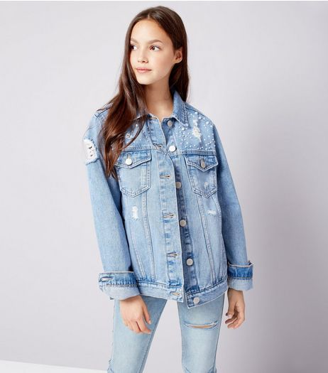 Teens Blue Pearl Embellished Denim Jacket | New Look