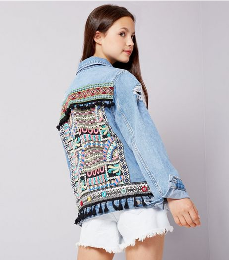 Teens Blue Aztec Embroidered Denim Jacket  | New Look