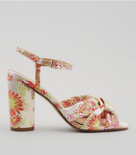 Pink Floral Brocade Heeled Sandals | New Look