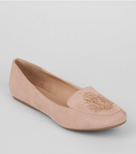 Pink Suedette Metallic Embroidered Tab Slippers | New Look