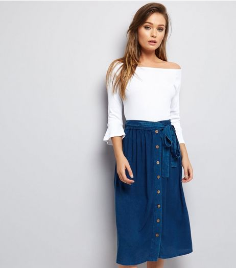 Brave Soul Blue Tie Waist Midi Skirt  | New Look