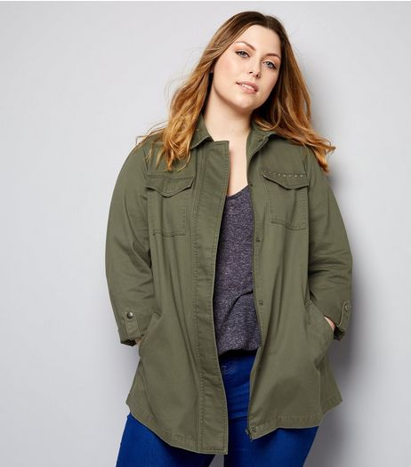 Curves Khaki Stud Detail Shacket | New Look