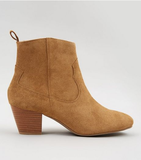 Tan Suede Western Ankle Boots | New Look