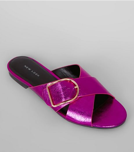 Purple Metallic Cross Buckle Strap Mules | New Look