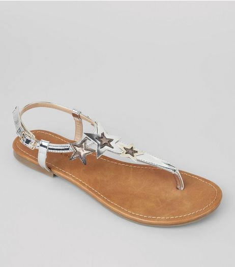 Silver Metallic Star Detail Toe Post Sandals | New Look