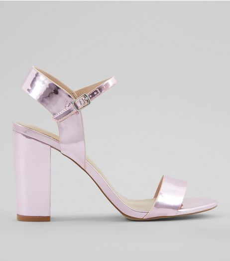 Pink Metallic Ankle Strap Block Heeled Sandals | New Look