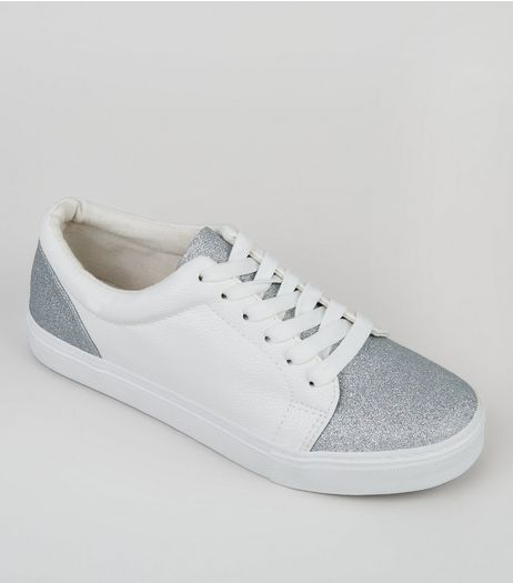 White Glitter Toe Trainers | New Look
