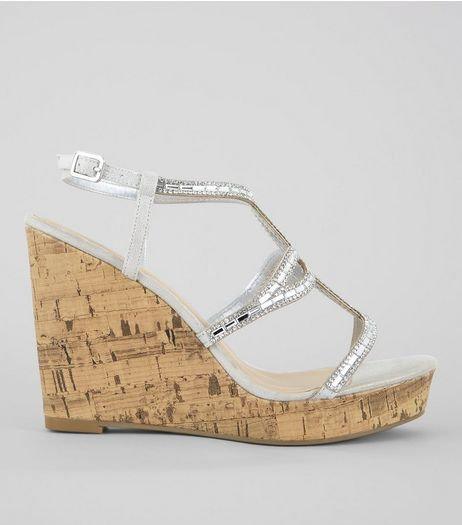 Silver Embellished Cork Wedge Heels | New Look
