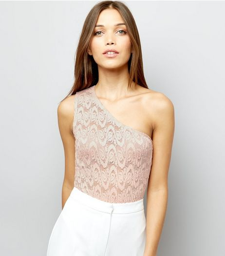 Shell Pink Lace One Shoulder Bodysuit | New Look