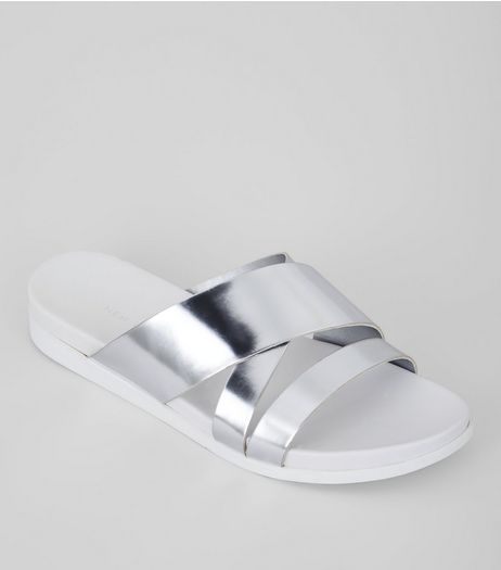 Silver Cross Strap Sliders | New Look