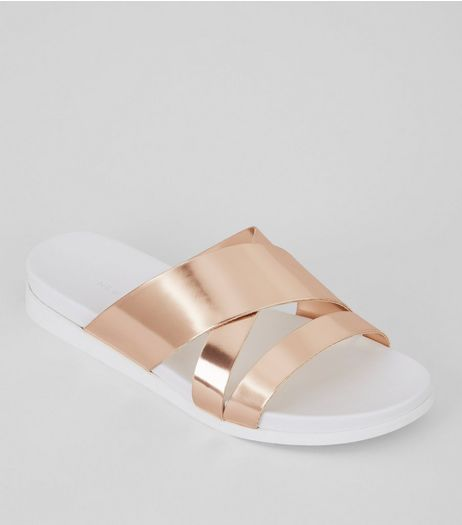 Rose Gold Cross Strap Sliders | New Look