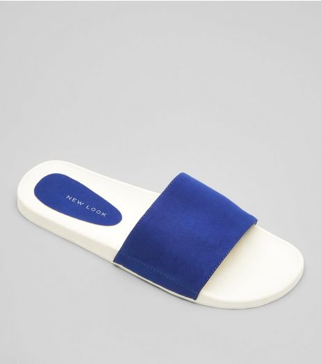 Blue Suedette Pool Sliders | New Look