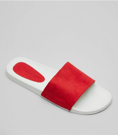 Red Suedette Pool Sliders | New Look