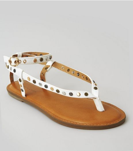 White Stud Toe Post Sandals | New Look