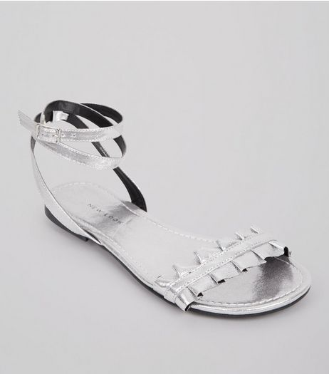 Silver Frill Strap Sandals | New Look