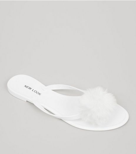 White Pom Pom Jelly Flip Flops | New Look