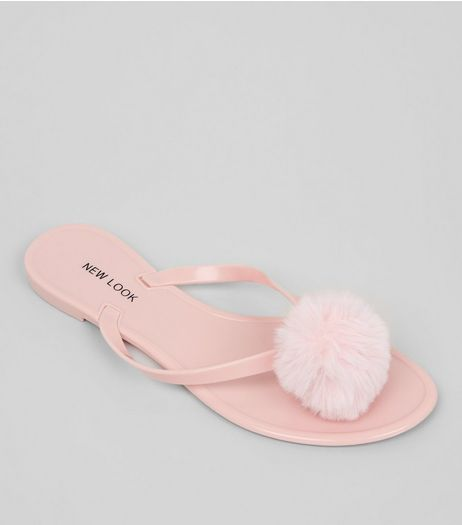 Pink Pom Pom Jelly Flip Flops | New Look