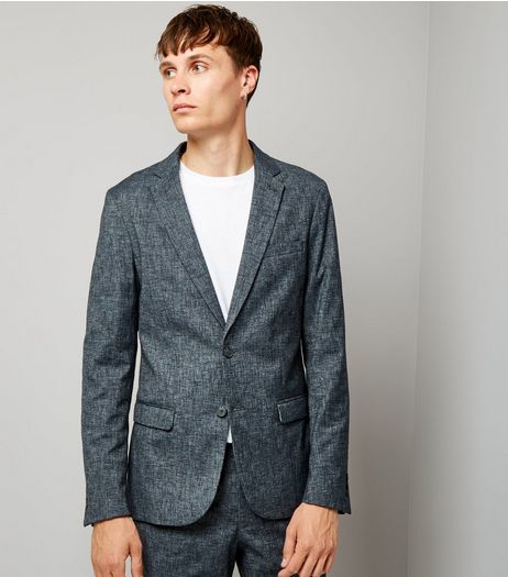 Blue Cross Hatch Tailored Suit Jacket | New Look