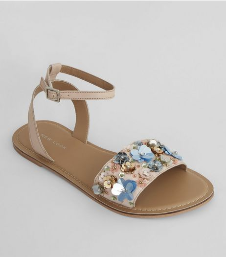 Pink Leather Sequin Flower Sandals | New Look