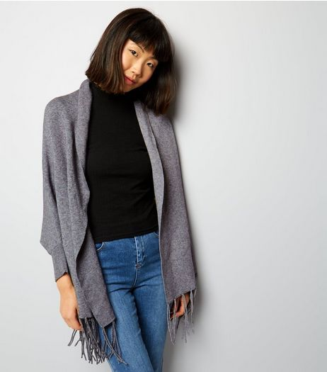 Grey Ribbed Cuff Tassel Hem Shawl | New Look