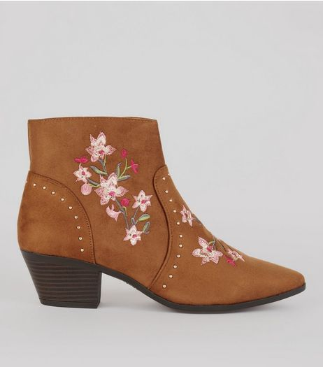 Tan Suedette Floral Embroidered Western Boots | New Look