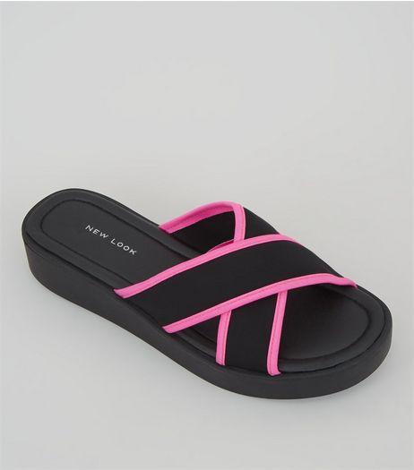 Black Neon Trim Cross Strap Sliders | New Look