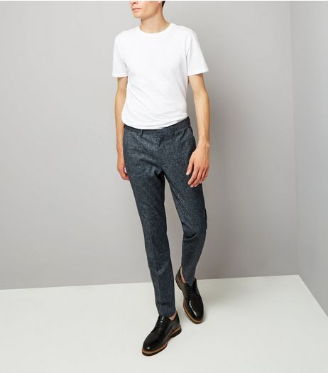 Blue Cross Hatch Tailored Skinny Suit Trousers | New Look