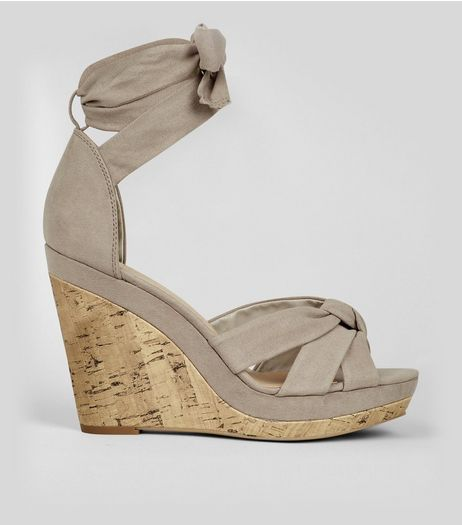 Grey Suedette Tie Up Wedges  | New Look