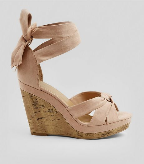Pink Suedette Tie Up Ankle Cork Wedge Heels | New Look