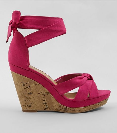 Bright Pink Suedette Tie Up Ankle Cork Wedge Heels | New Look