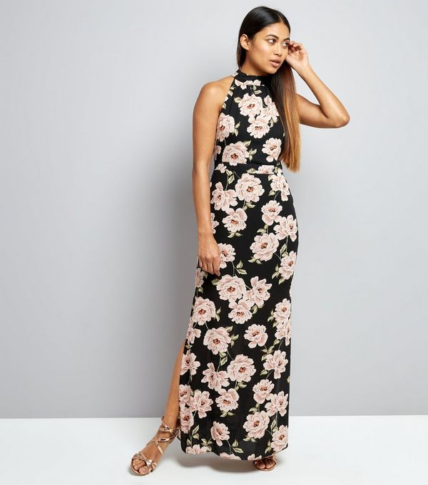 Petite Black Floral Print Halter Neck Maxi Dress