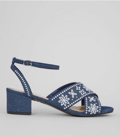 Blue Denim Floral Embroidered Block Heel Sandals | New Look