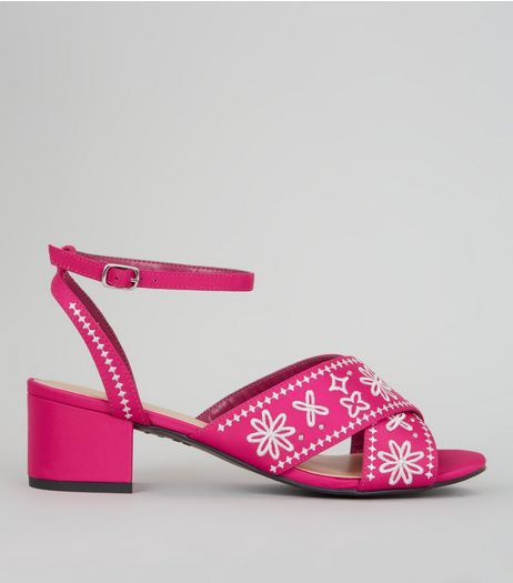 Pink Satin Contrast Embroidered Block Heeled Sandals | New Look