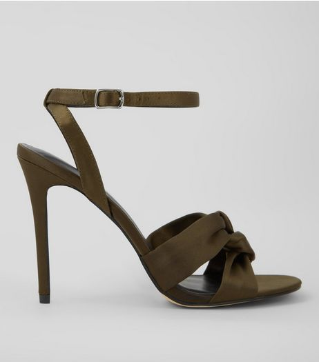 Khaki Satin Knot Strap Heeled Sandals | New Look