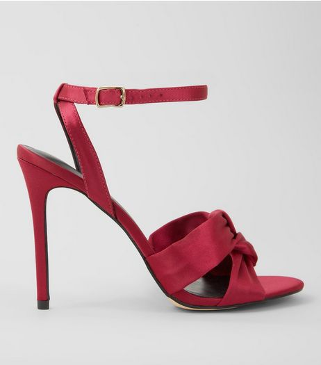 Pink Satin Knot Strap Heeled Sandals | New Look